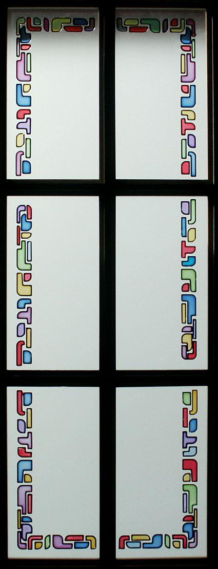 Vidriera decorada con resina cuarterones