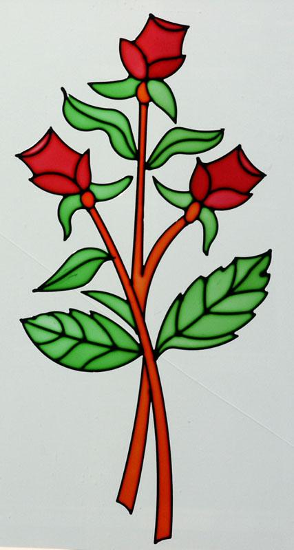 Vidrio decorado con resina cuarterones