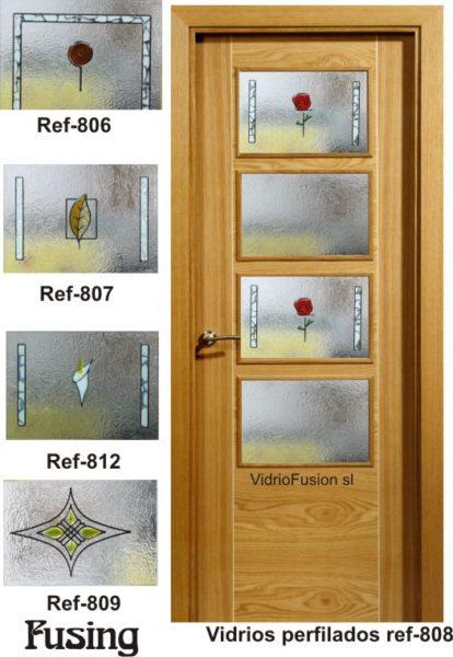 Puertas de paso con cristal fusing cuarterones