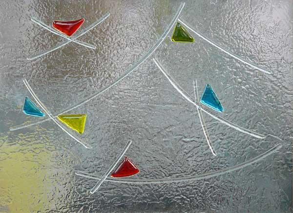 Vidrio decorado fusing termoformado cuarterones