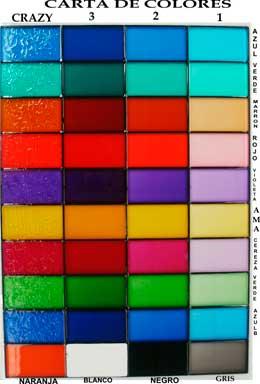 Vidrios decorados con resinas carta colores