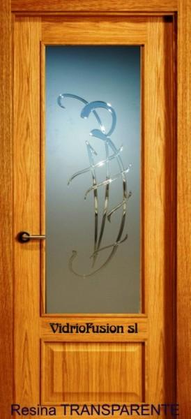 Cristales para puertas con resina transparente