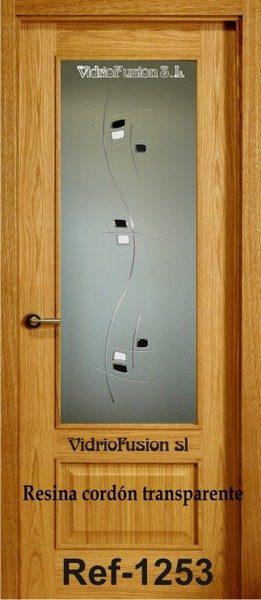 Puerta de paso resina cordón transparente completo