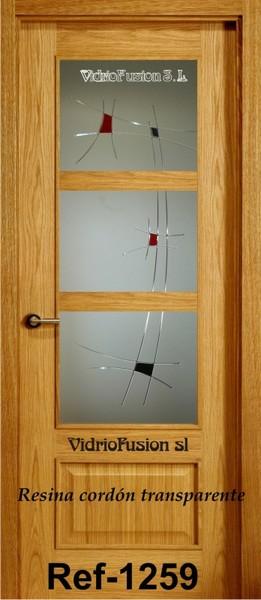 Vidrio decorado con resina cordón transparente cuarterones