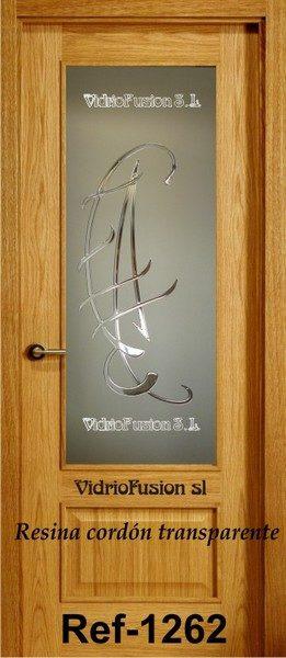 Puertas de paso con cristal resina cordón transparente