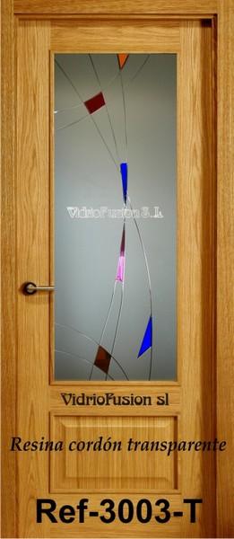 Puerta de paso con cristal resina cordón transparente